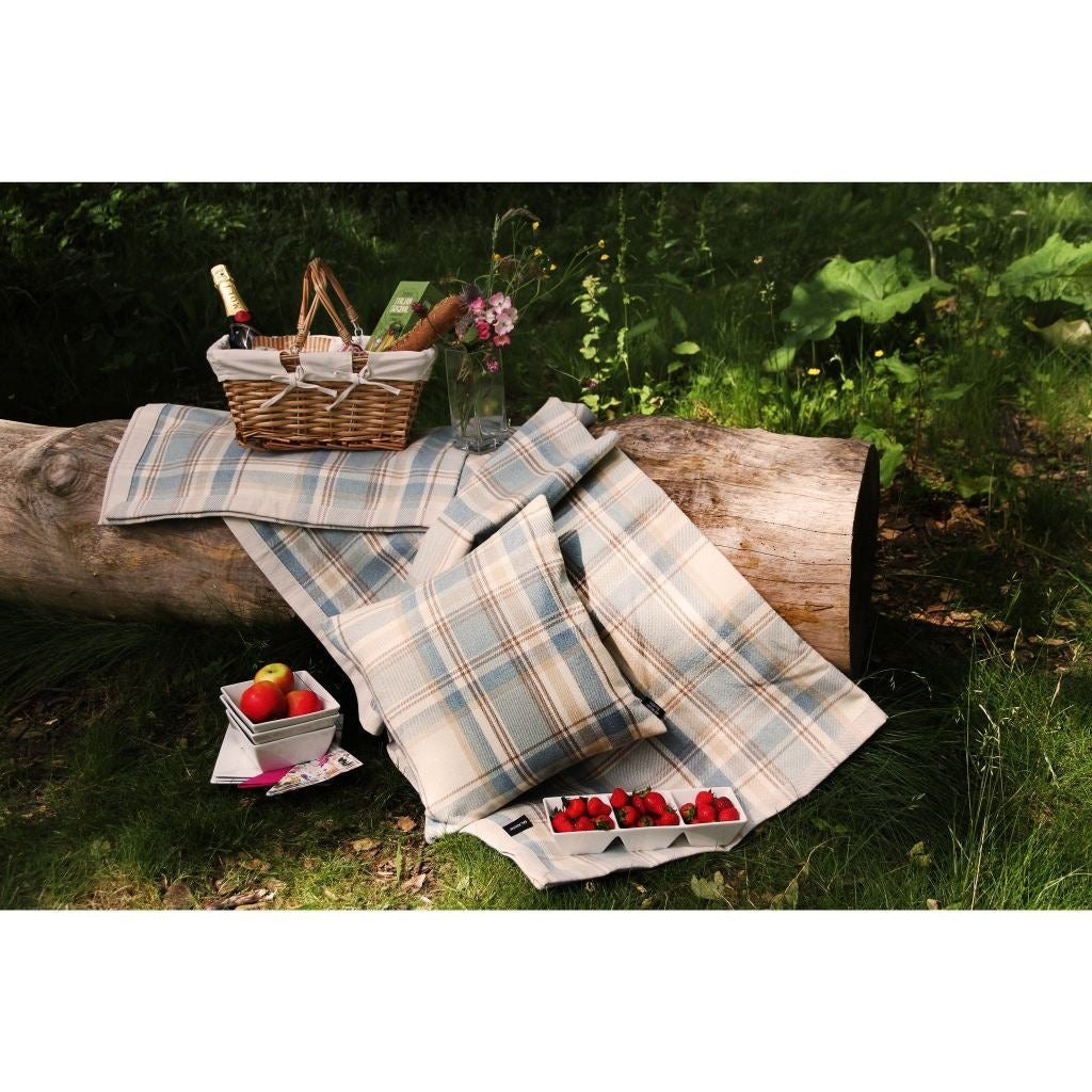 McAlister Textiles Heritage Duck Egg Blue Tartan Table Runner Throws and Runners