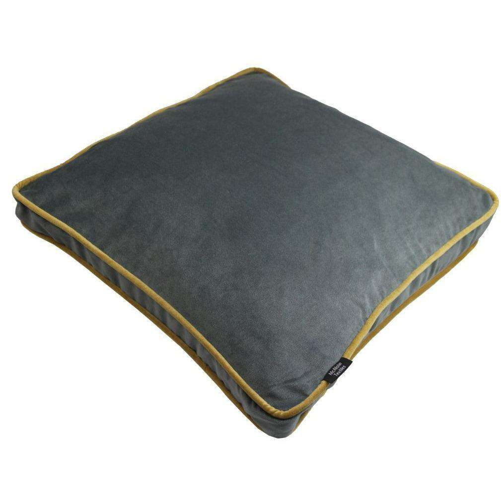 McAlister Textiles Boutique Deluxe Matt Velvet Large Box Cushion | Charcoal Grey and Ochre-Box Cushions-