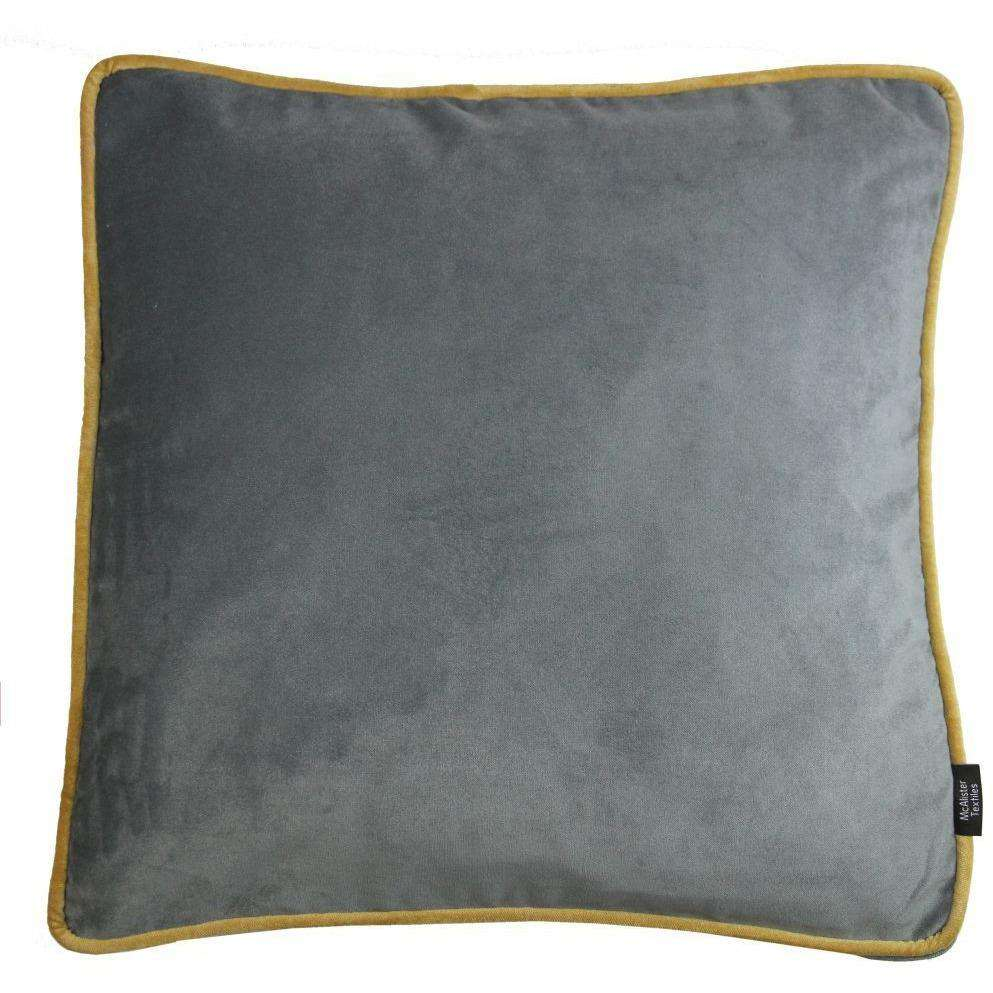 McAlister Textiles Deluxe Large Velvet Grey + Yellow Box Cushion 50cm x 50cm x 5cm Box Cushions
