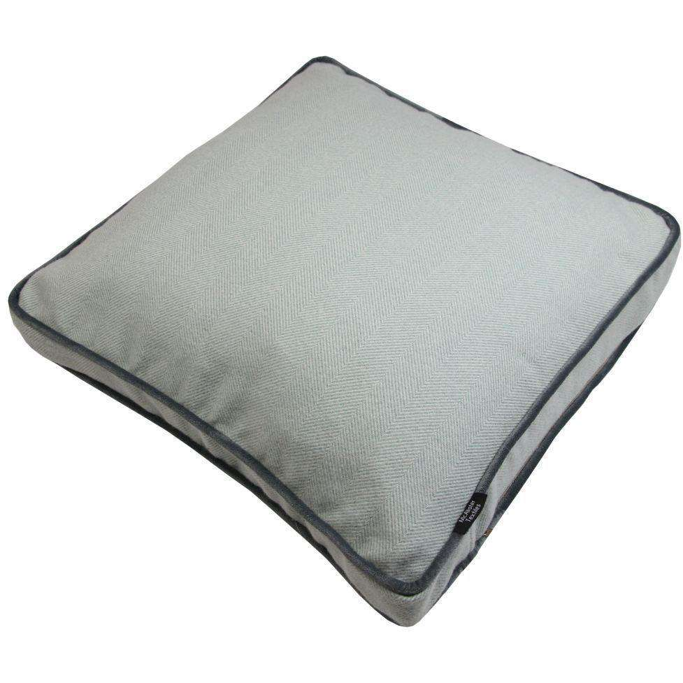 McAlister Textiles Deluxe Large Herringbone Duck Egg Blue Box Cushion 50cm x 50cm x 5cm Box Cushions