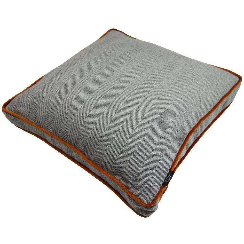 McAlister Textiles Deluxe Large Herringbone Grey + Orange Box Cushion Box Cushions
