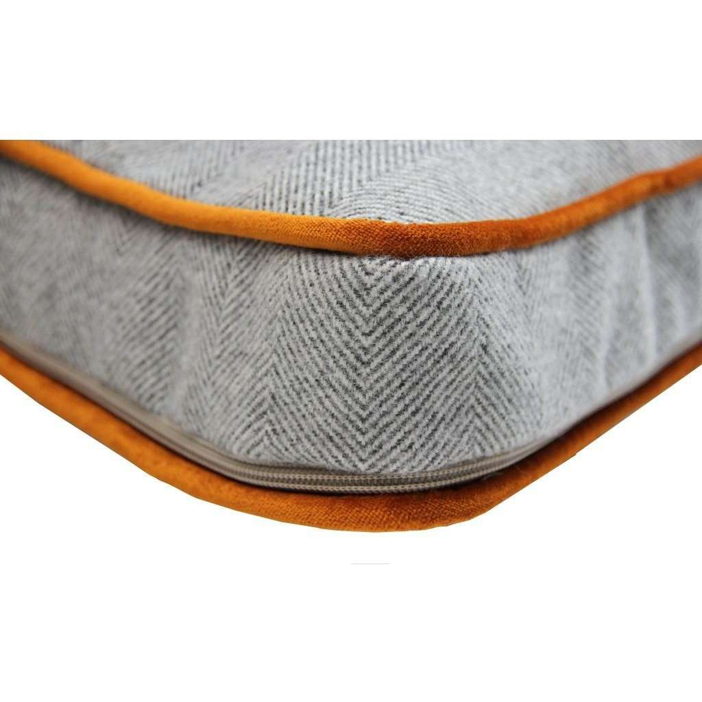 McAlister Textiles Deluxe Herringbone Grey + Orange Box Cushion Box Cushions