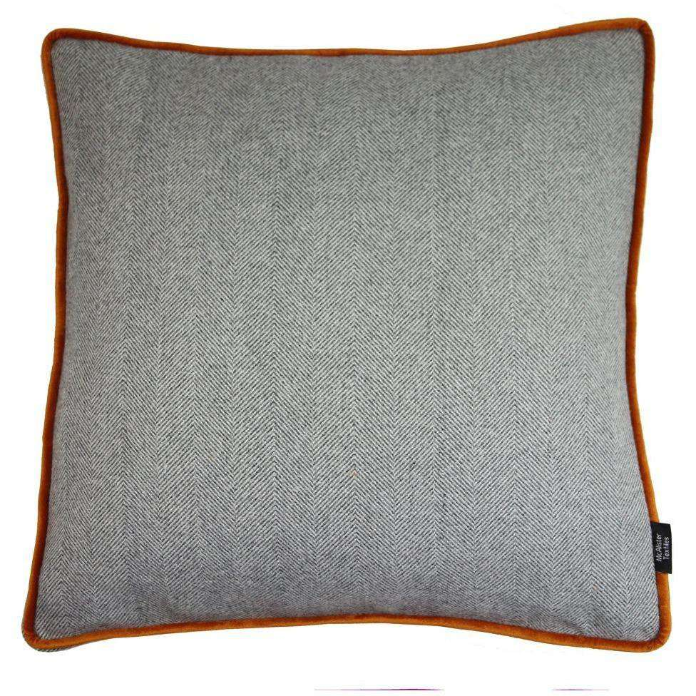 McAlister Textiles Deluxe Herringbone Grey + Orange Box Cushion 43cm x 43cm x 3cm Box Cushions