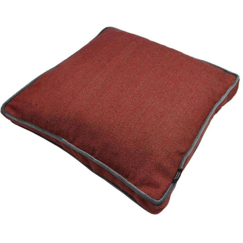 McAlister Textiles Boutique Deluxe Herringbone Small Box Cushion | Red and Charcoal Grey-Box Cushions-