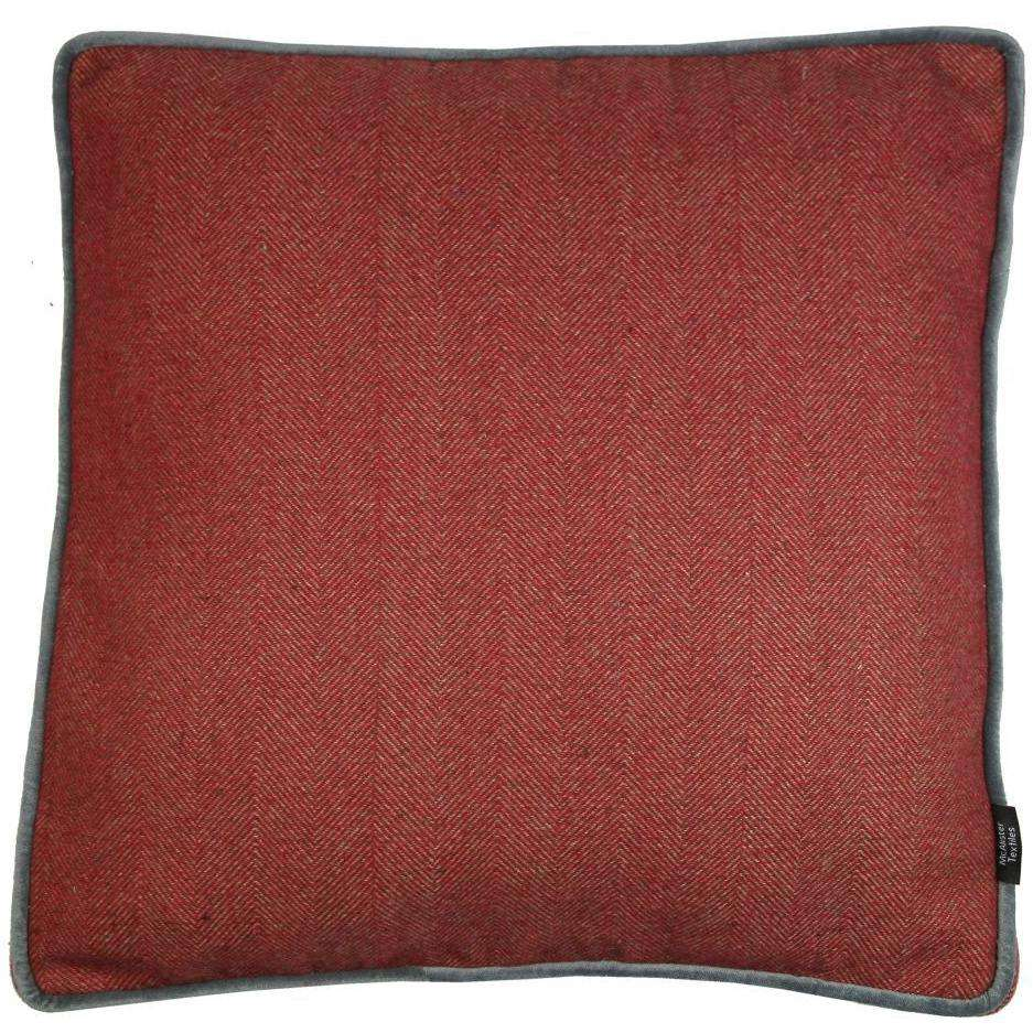 McAlister Textiles Deluxe Herringbone Red Box Cushion 43cm x 43cm x 3cm Box Cushions