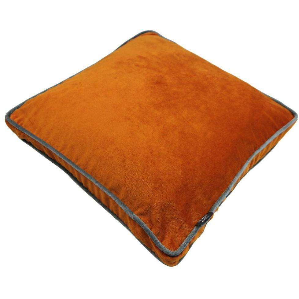 McAlister Textiles Deluxe Velvet Burnt Orange Box Cushion 43cm x 43cm x 3cm Box Cushions