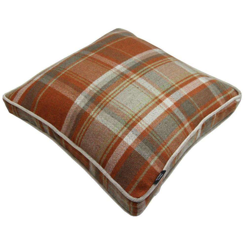 McAlister Textiles Deluxe Tartan Burnt Orange + Grey Large Box Cushion Box Cushions