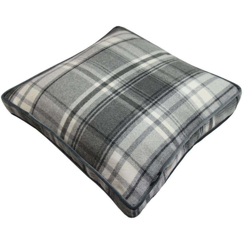McAlister Textiles Deluxe Large Tartan Charcoal Grey Box Cushion 50cm x 50cm x 5cm Box Cushions
