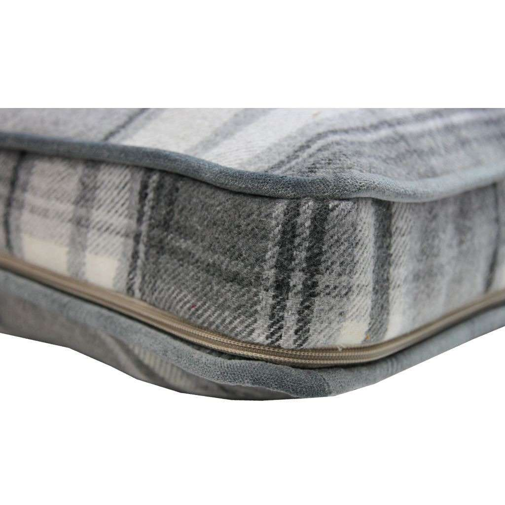 McAlister Textiles Deluxe Tartan Charcoal Grey Box Cushion 43cm x 43cm x 3cm Box Cushions