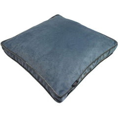 McAlister Textiles Boutique Deluxe Matt Velvet Small Box Cushion | Petrol Blue and Grey-Box Cushions-