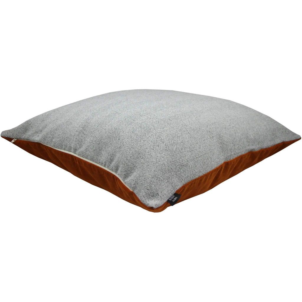 McAlister Textiles Deluxe Herringbone Grey + Orange 66cm x 66cm Floor Cushion Floor Cushions