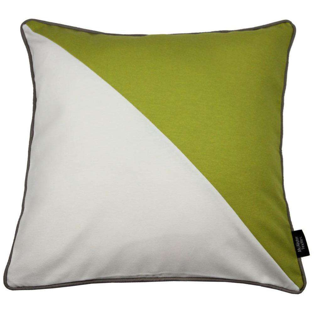McAlister Textiles Panama Patchwork Lime Green + Cream Cushion Cushions and Covers Cover Only 43cm x 43cm