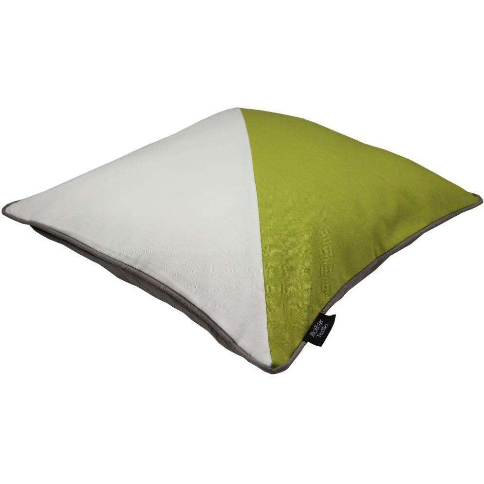 McAlister Textiles Panama Patchwork Lime Green + Cream Cushion Cushions and Covers