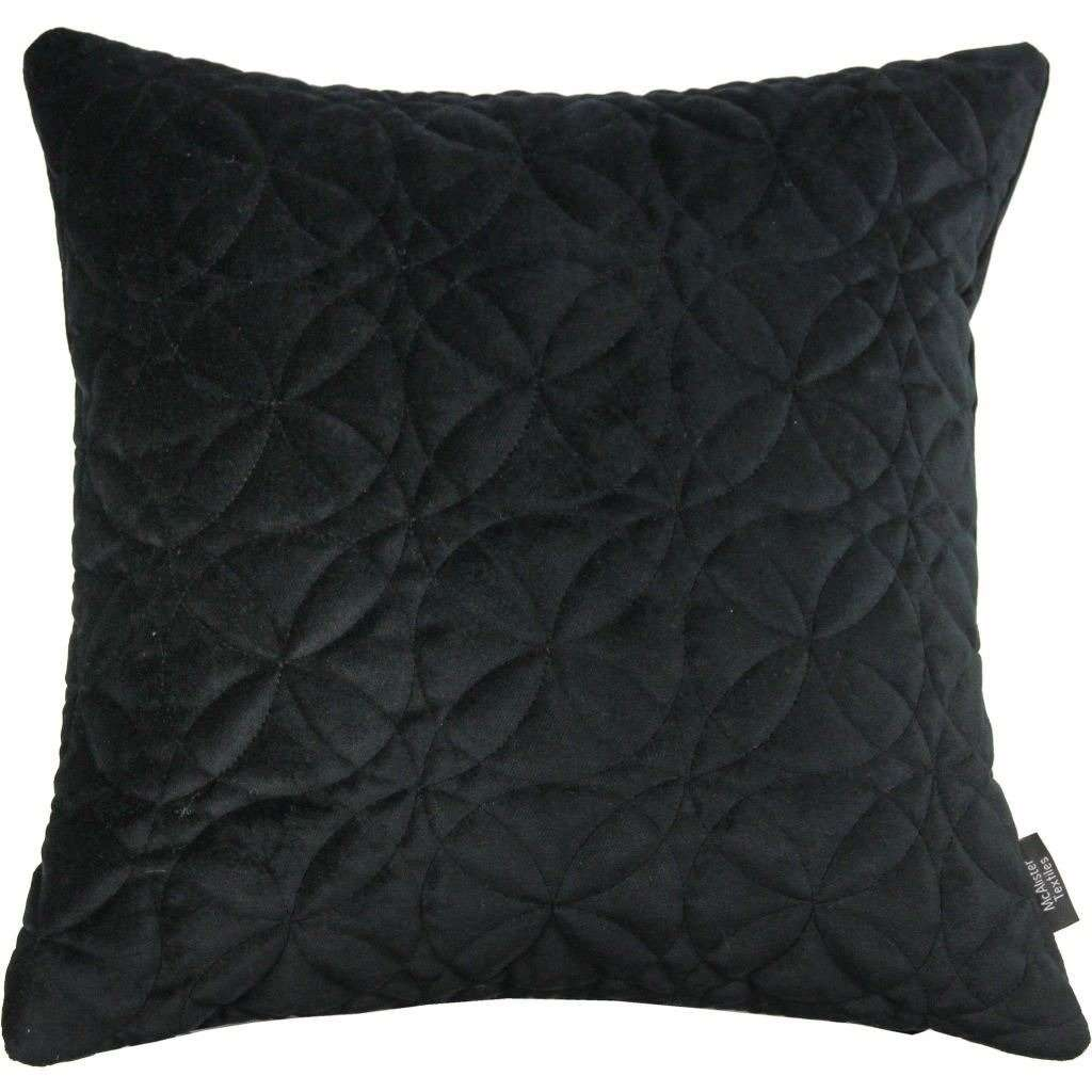 McAlister Textiles Round Quilted Black Velvet Cushion Cushions and Covers Cover Only 43cm x 43cm
