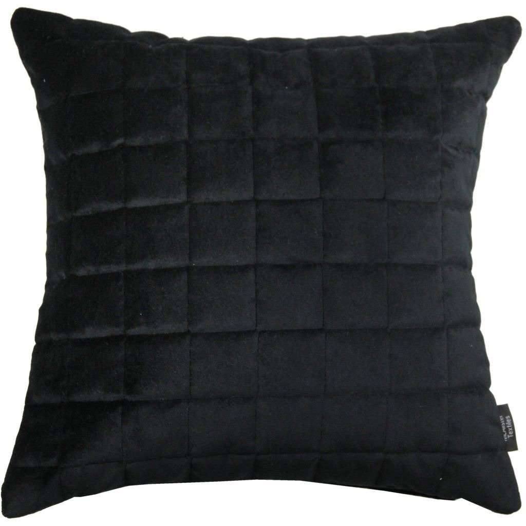 McAlister Textiles Square Quilted Black Velvet Cushion Cushions and Covers Cover Only 43cm x 43cm