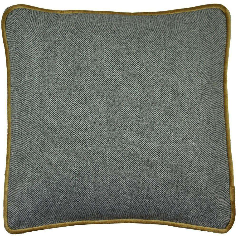 McAlister Textiles Deluxe Herringbone Grey + Yellow Box Cushion 43cm x 43cm x 3cm Box Cushions