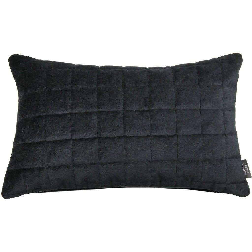 McAlister Textiles Square Quilted Black Velvet Cushion Cushions and Covers Cover Only 50cm x 30cm