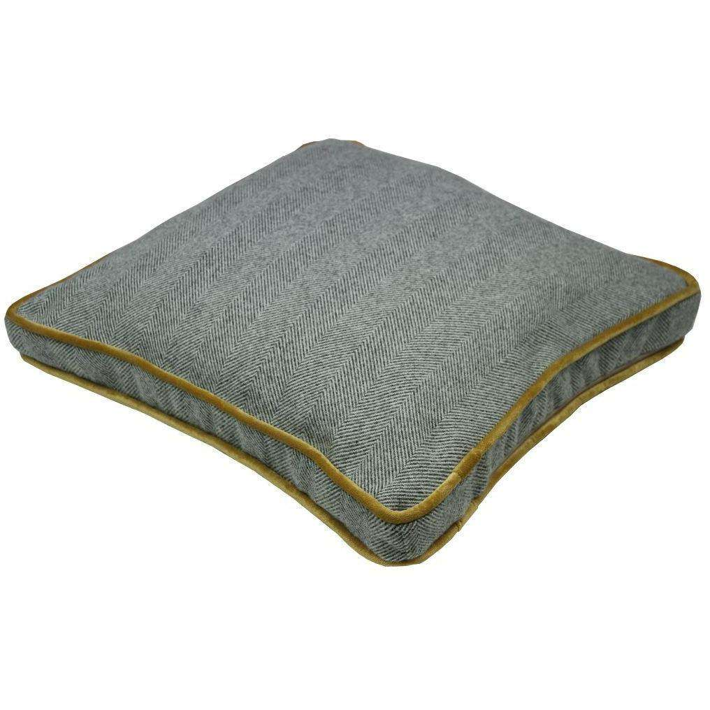 McAlister Textiles Boutique Deluxe Herringbone Large Box Cushion | Charcoal Grey and Ochre-Box Cushions-
