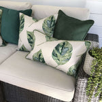 Load image into Gallery viewer, McAlister Textiles Leaf Forest Green Floral Cotton Print Piped Edge Pillows Pillow