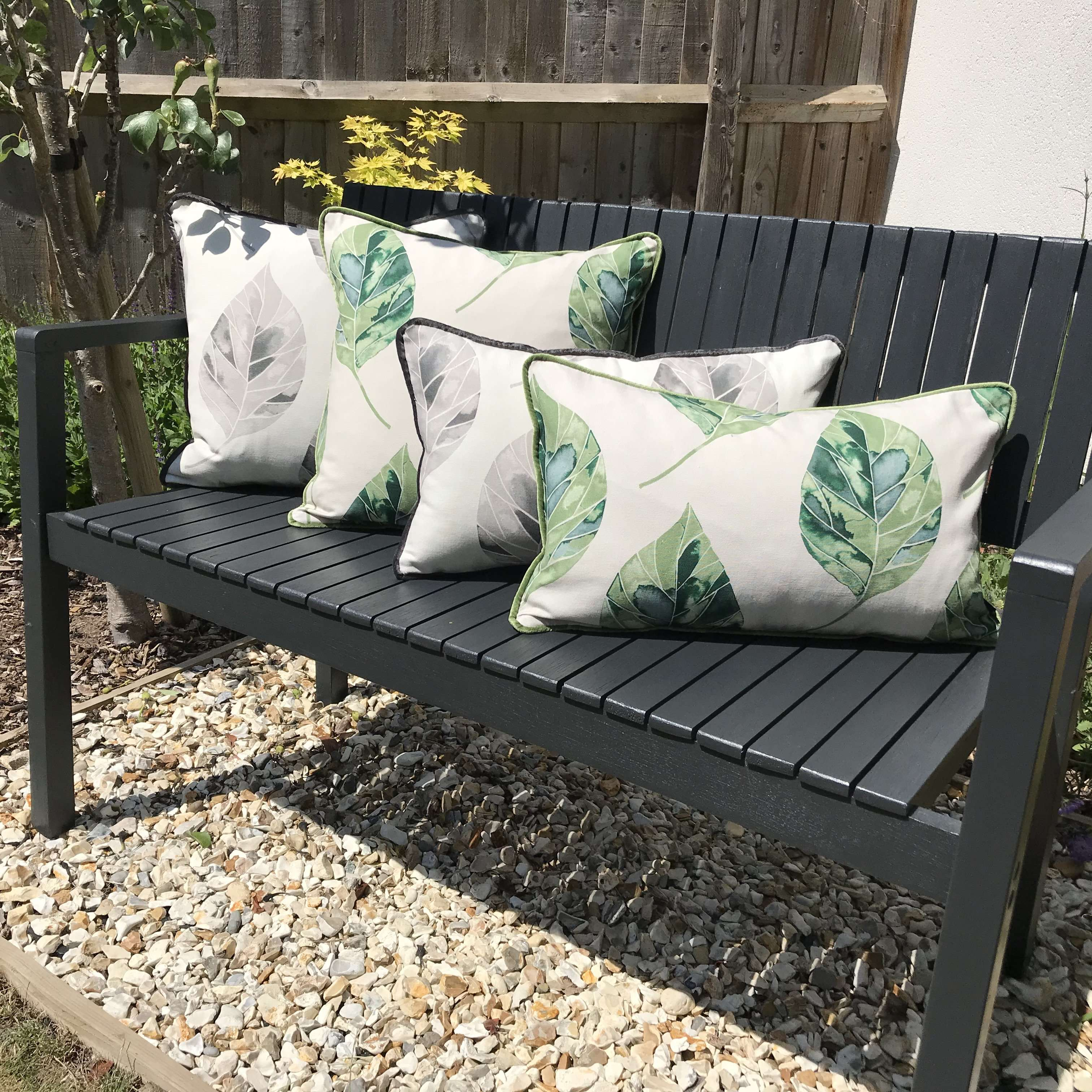 McAlister Textiles Leaf Soft Grey Floral Cotton Print Piped Edge Cushions Cushions and Covers
