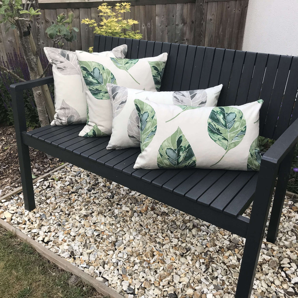 McAlister Textiles Leaf Forest Green Floral Cotton Print Cushions Cushions and Covers