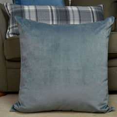 McAlister Textiles Boutique Deluxe Matt Velvet Large Floor Cushion | Charcoal Grey and Beige-Floor Cushions-