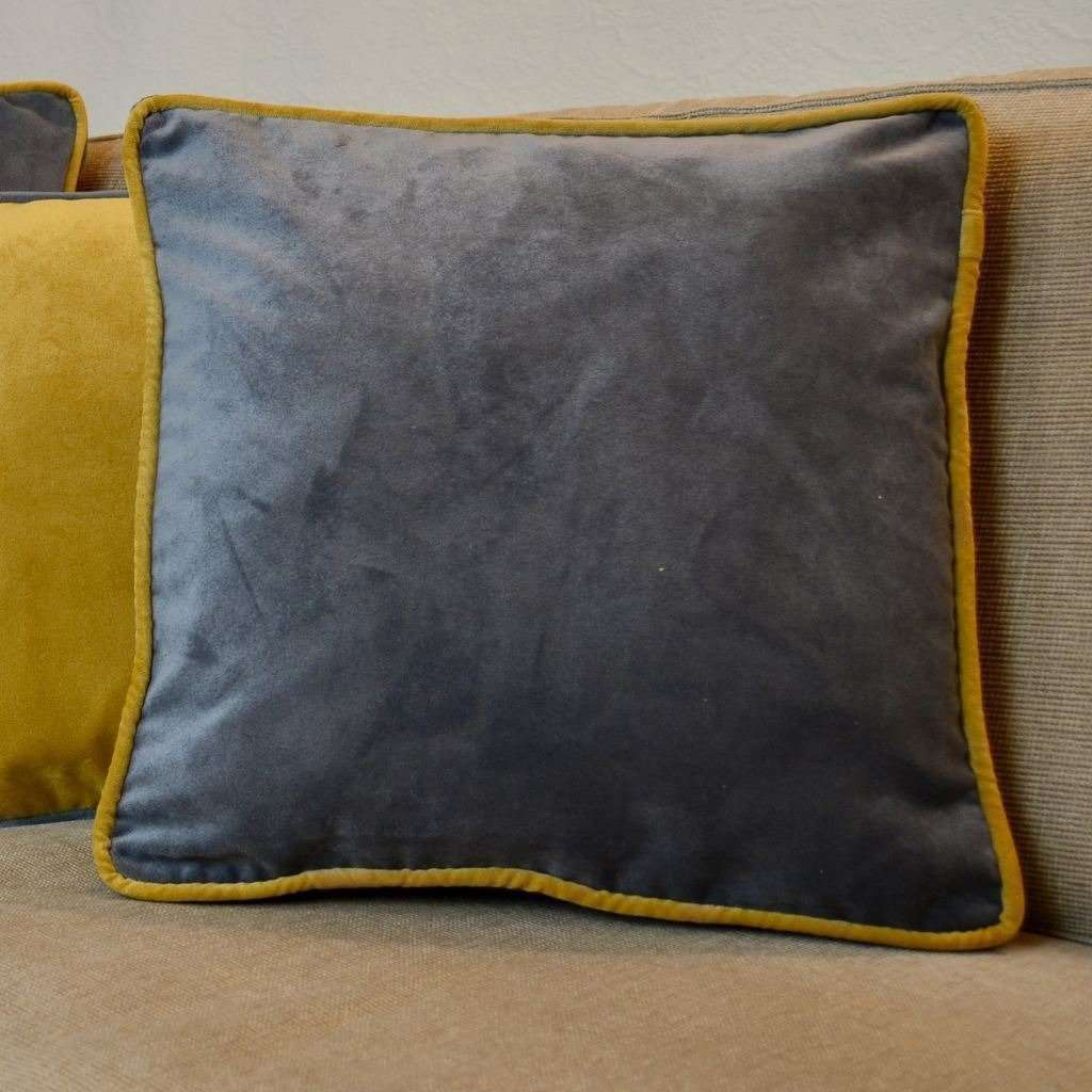 McAlister Textiles Deluxe Large Velvet Grey + Yellow Box Cushion Box Cushions