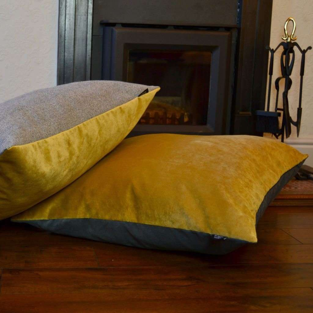 McAlister Textiles Deluxe Velvet Yellow + Grey 66cm x 66cm Floor Cushion Floor Cushions