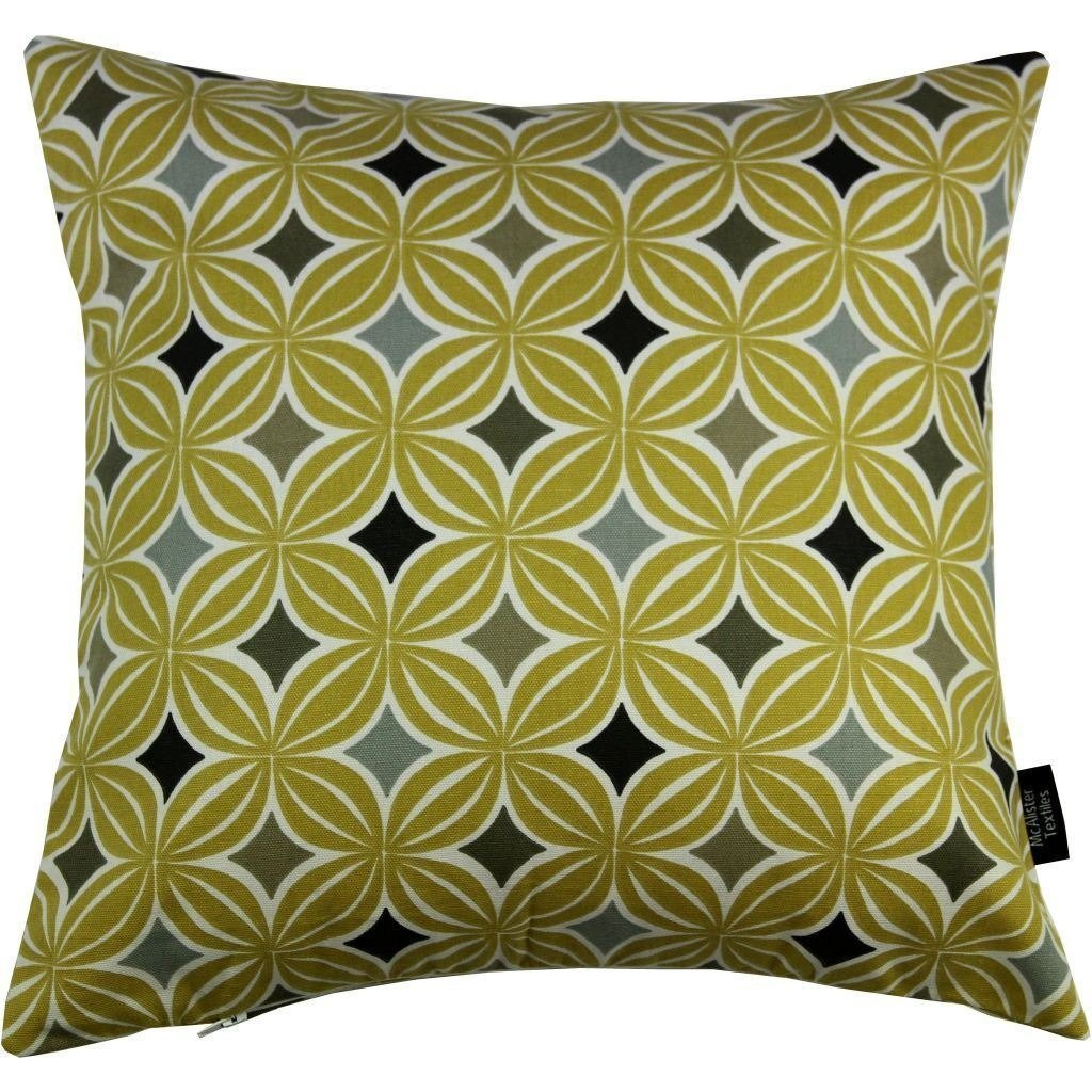McAlister Textiles Laila Cotton Print Ochre Yellow Pillow Pillow Cover Only 43cm x 43cm