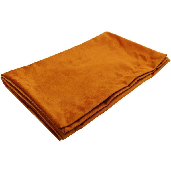 McAlister Textiles Matt Burnt Orange Velvet Throw Blanket Throws and Runners Bed Runner (50cm x 240cm)