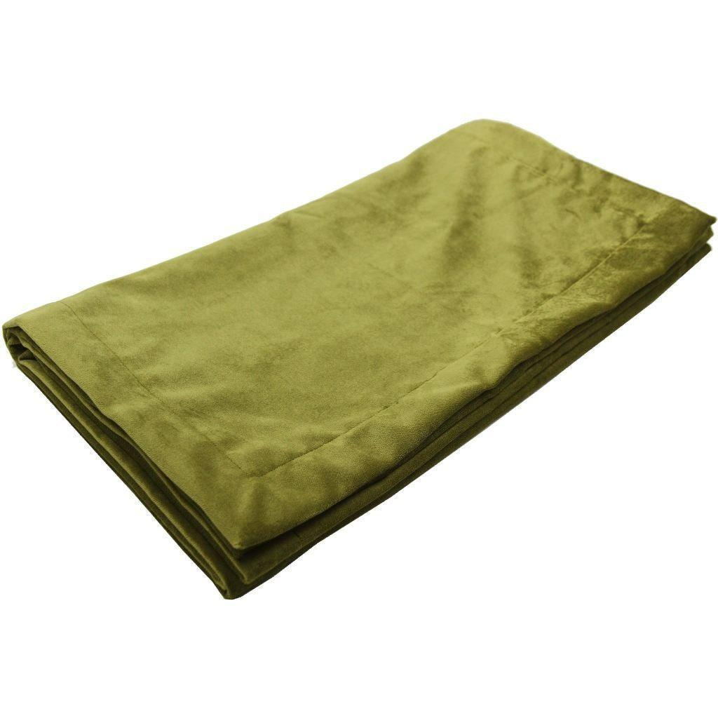McAlister Textiles Matt Lime Green Velvet Throw Blankets & Runners Throws and Runners Bed Runner (50cm x 240cm)