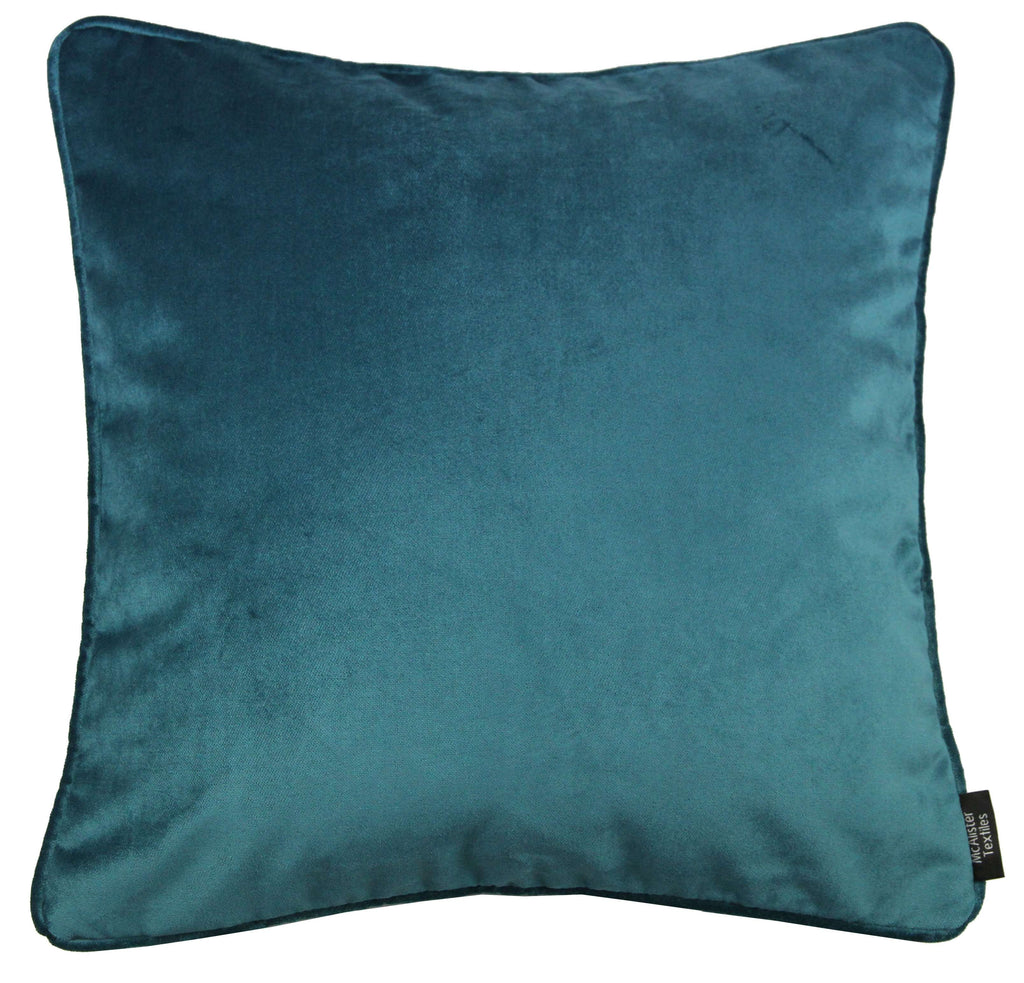 McAlister Textiles Matt Blue Teal Velvet Cushion Cushions and Covers Polyester Filler 43cm x 43cm
