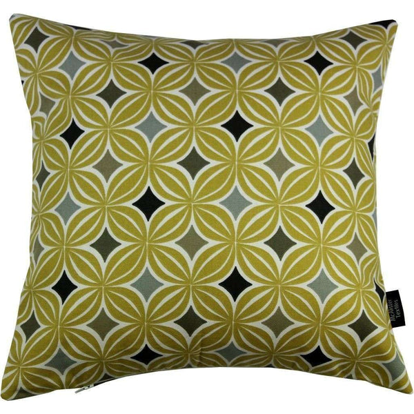 McAlister Textiles Laila Cotton Print Ochre Yellow Cushion Cushions and Covers Cover Only 43cm x 43cm