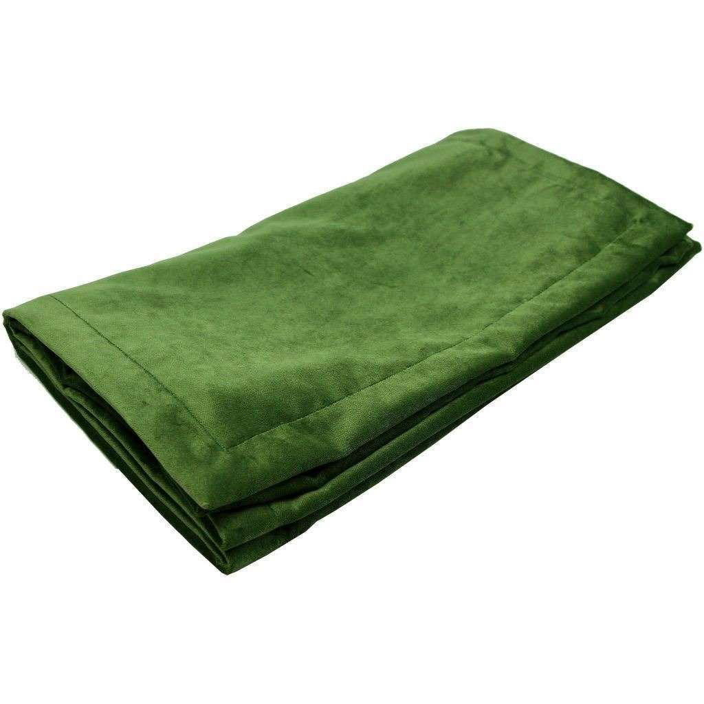 McAlister Textiles Matt Fern Green Velvet Throw Blanket Throws and Runners Bed Runner (50cm x 240cm)
