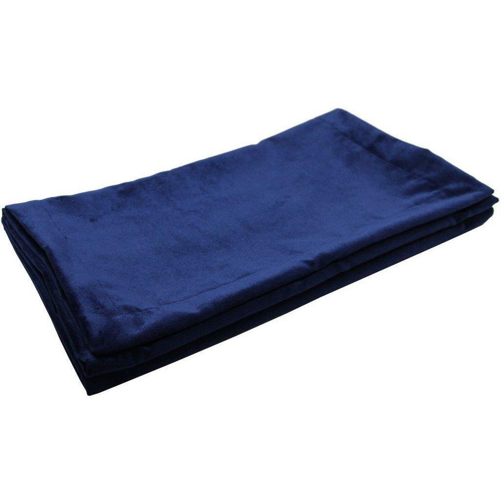 McAlister Textiles Matt Navy Blue Velvet Throw Blanket Throws and Runners Bed Runner (50cm x 240cm)