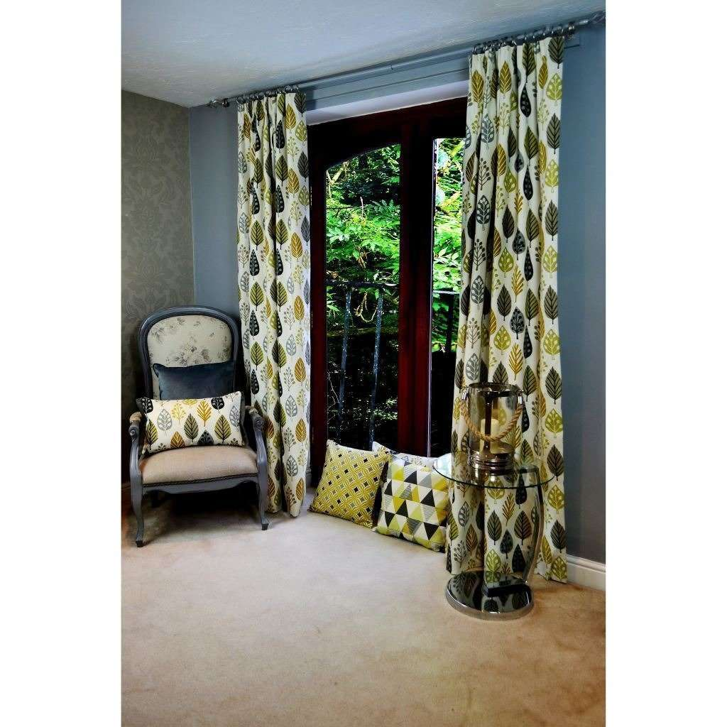 "McAlister Textiles Magda Cotton Print Ochre Yellow Curtains Tailored Curtains 116cm(w) x 182cm(d) (46"" x 72"")"