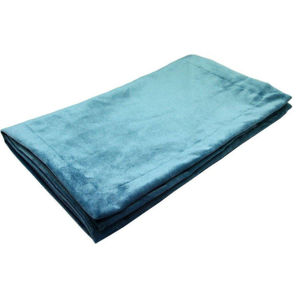 McAlister Textiles Matt Duck Egg Blue Velvet Throw Blankets & Runners Throws and Runners Bed Runner (50cm x 240cm)