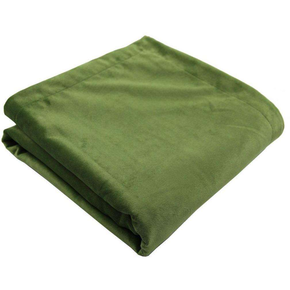 McAlister Textiles Matt Fern Green Velvet Throw Blankets & Runners Throws and Runners Regular (130cm x 200cm)