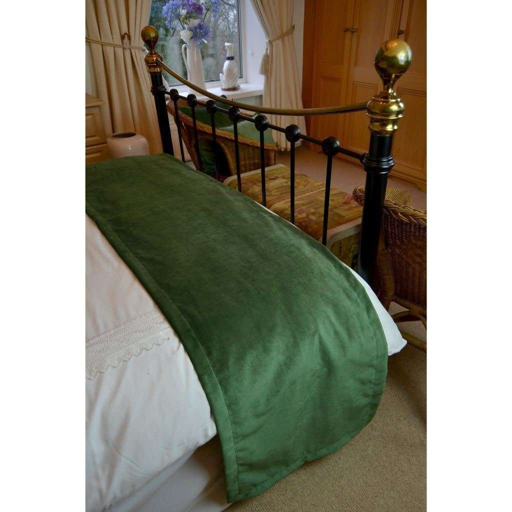 McAlister Textiles Matt Moss Green Velvet Throw Blankets & Runners Throws and Runners