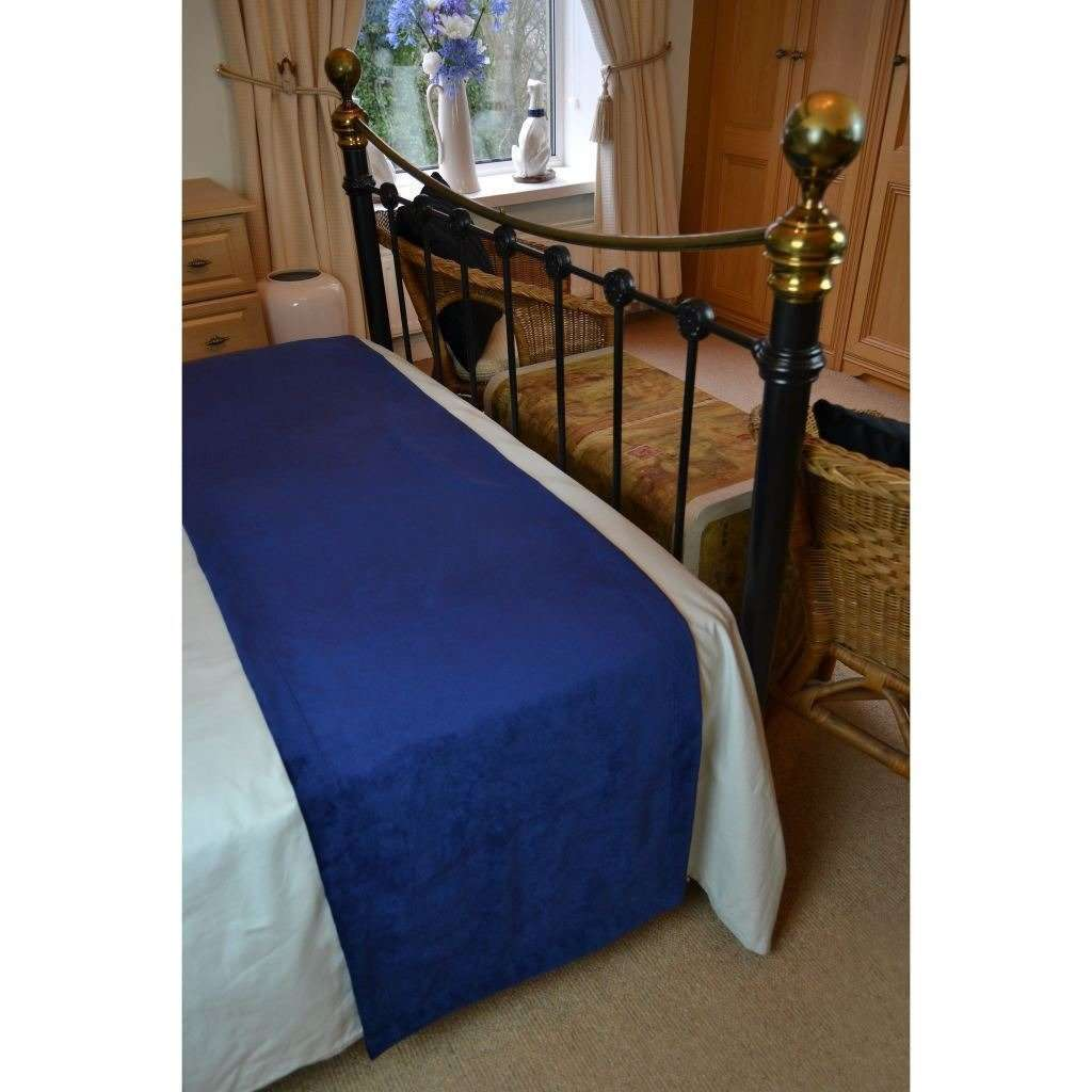 McAlister Textiles Matt Navy Blue Velvet Throw Blanket Throws and Runners