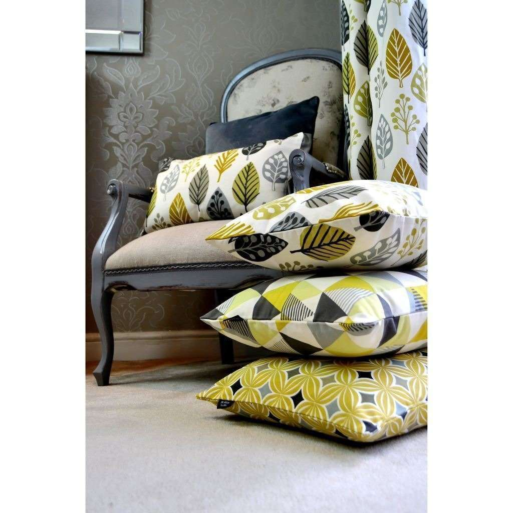 McAlister Textiles Magda Cotton Print Ochre Yellow Curtains Tailored Curtains