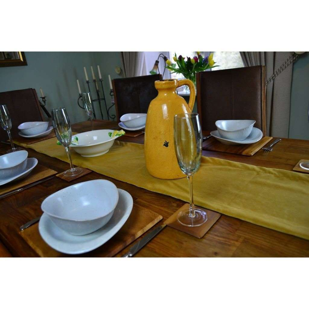 McAlister Textiles Matt Ochre Yellow Velvet Table Runner Throws and Runners