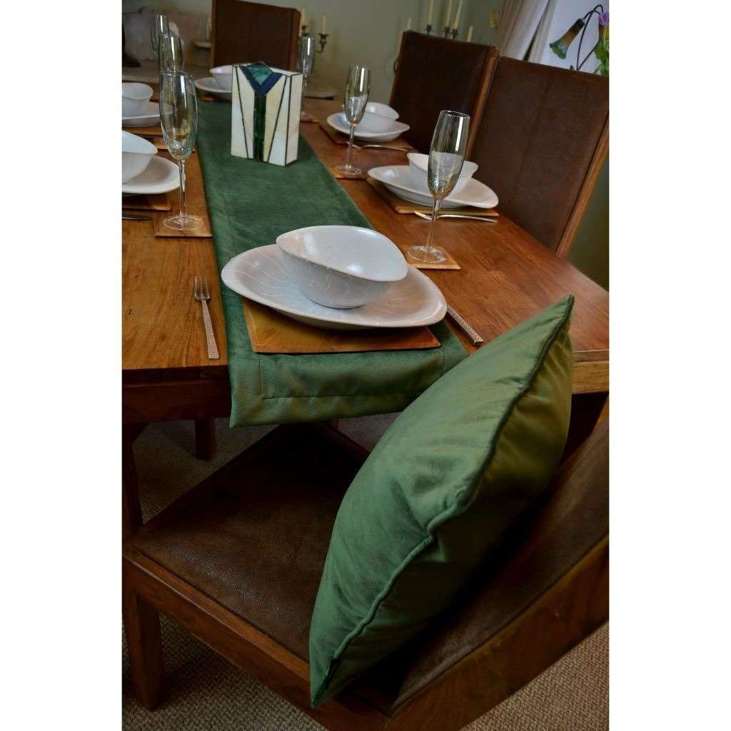 McAlister Textiles Matt Moss Green Velvet Table Runner Throws and Runners