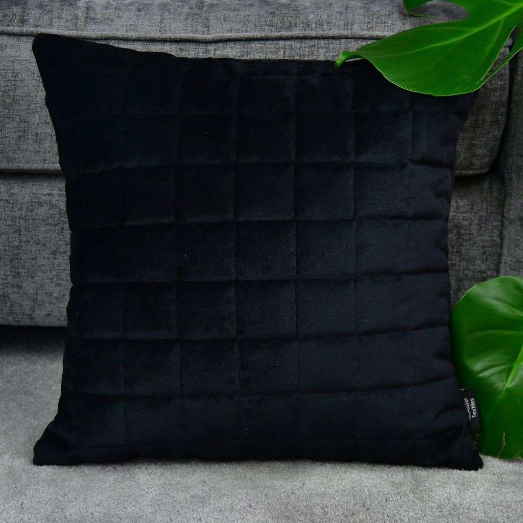 McAlister Textiles Square Quilted Black Velvet Cushion Cushions and Covers