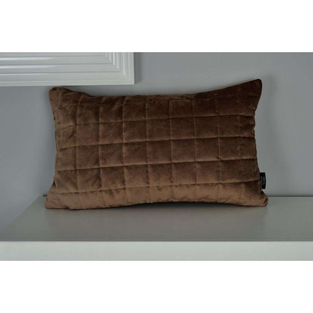 McAlister Textiles Square Quilted Mocha Brown Velvet Pillow Pillow