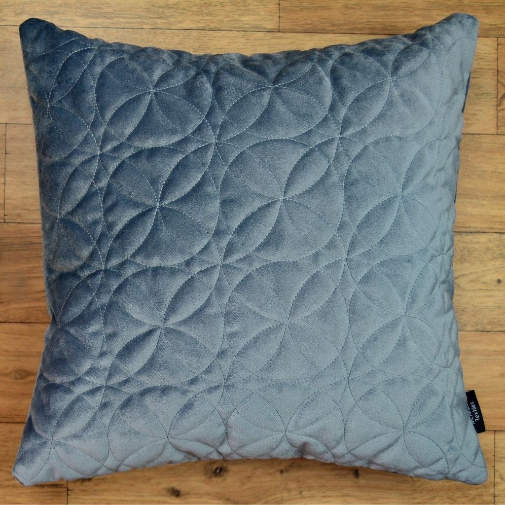 McAlister Textiles Round Quilted Silver Grey Velvet Cushion Cushions and Covers