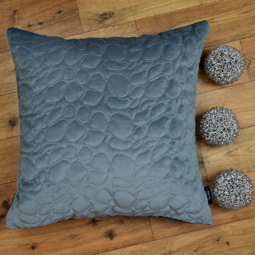 McAlister Textiles Pebble Quilted Silver Grey Velvet Cushion Cushions and Covers