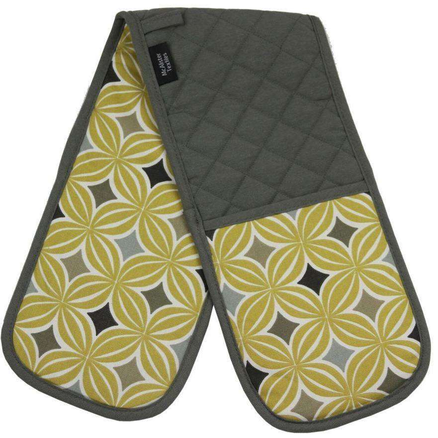 McAlister Textiles Laila Yellow Cotton Print Double Oven Mitts Kitchen Accessories