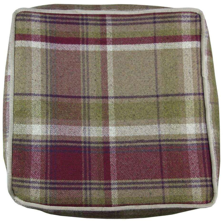 McAlister Textiles Deluxe Tartan Purple + Green Cube Seat Stool Square Stool