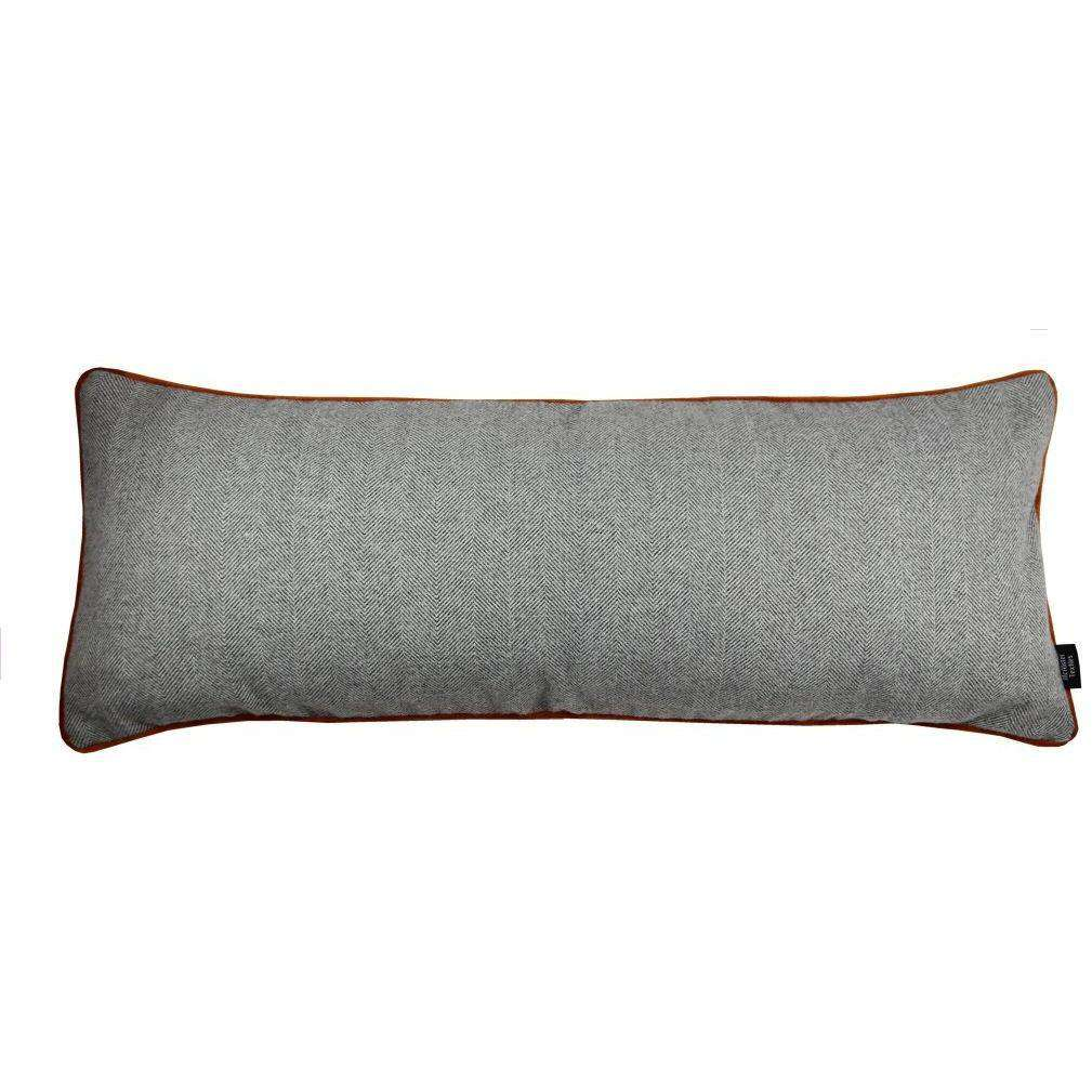 McAlister Textiles Deluxe Herringbone Grey + Orange Bed Pillow Large Boudoir Cushions